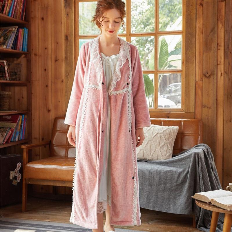 Roseheart Winter Pink Blue Red Women Fashion Sleepwear Female Pajama Sexy Robes Flannel Lace Woven Bathrobe Plus Size Bride