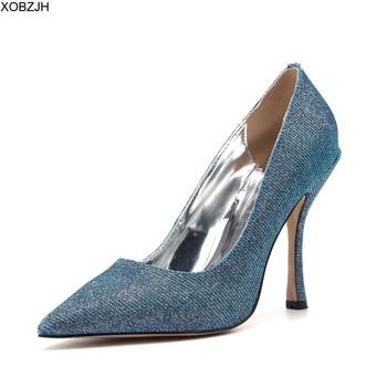 XOBZJH Designer Office high Heels Shoes Women Luxury 2020 Blue Pumps Woman for Dress Prom Party Wedding Bride Shoes Plus Size 11