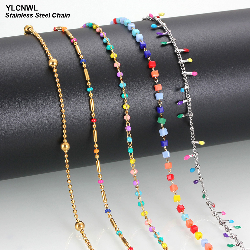 Multi-Colour Stainless Steel Chain Necklace For Women Thin Simple Cute Charm Enamel Ladies Girl Link Choker Jewelry Wholesale