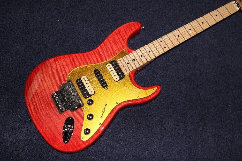 New standard Custom electric guitar, Maple fingerboard guitarra,red color tiger flame top gitaar
