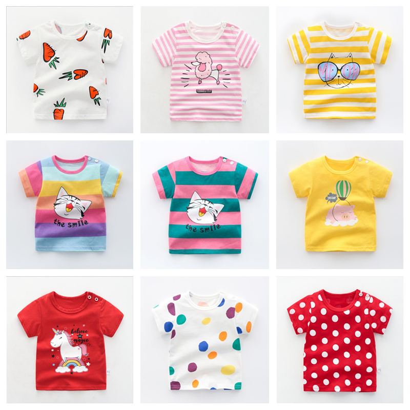 Baby Tees Tops Stripe Animalss T Shirts Kids T Shirt Boys Cotton Clothes Animals Applique Kids Boys New Design Children Girl Top
