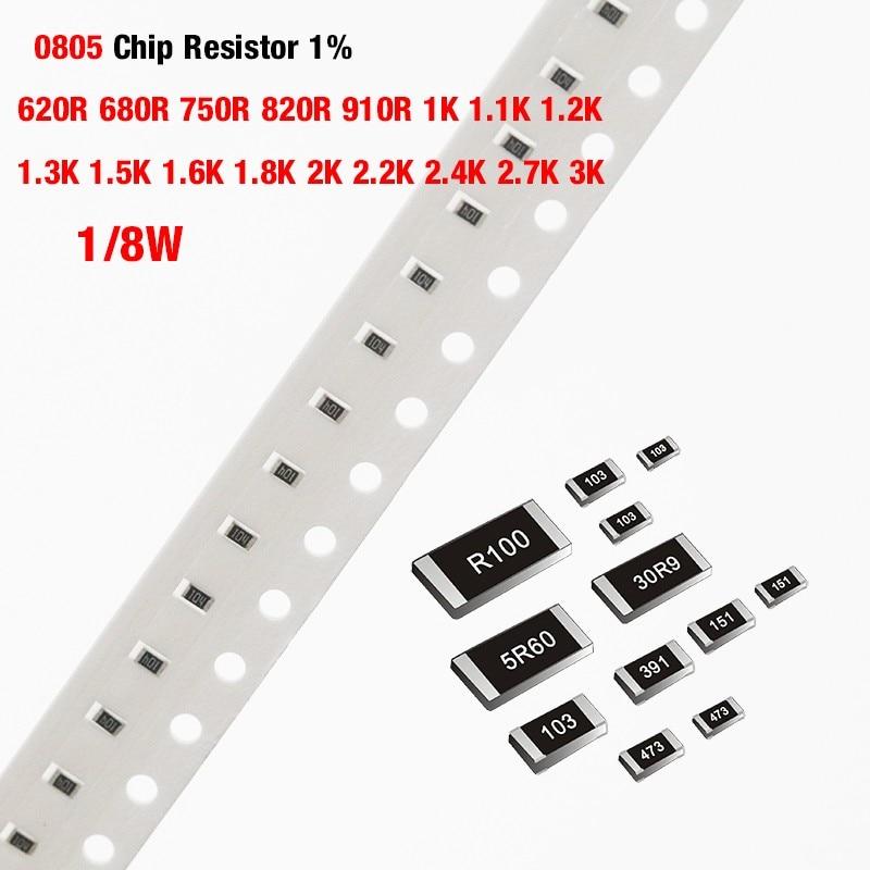 200 шт./лот чиповый резистор SMD 0805 1% 620R 680R 750R 820R 910R 1K 1,1 K 1,2 K 1,3 K 1,5 K 1,6 K 1,8 K 2K 2,2 K 2,4 K 2,7 K 3K Ohm 1/8W
