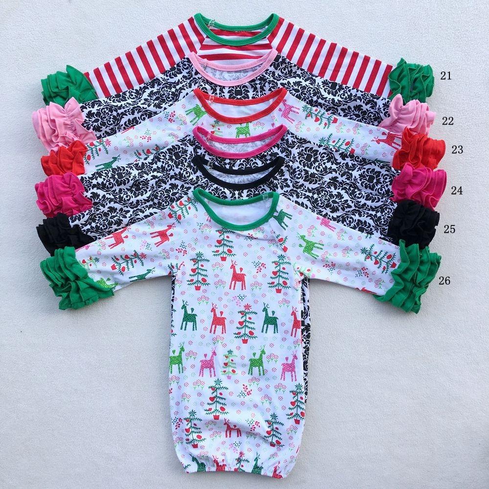 Nova Floral Animal Print Listrado Natal Holloween Triplo Ruffle Vestido Da Menina Roupa Infantil Do Bebê Recém-nascido Sacos de Dormir de Pijama Terno