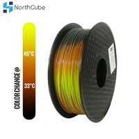 PLA 3D Filament Tri Temperature Color Change Lava 3D Printer Filament, Black to Red to Yellow, 1KG 1.75mm Tolerance +/ 0.05