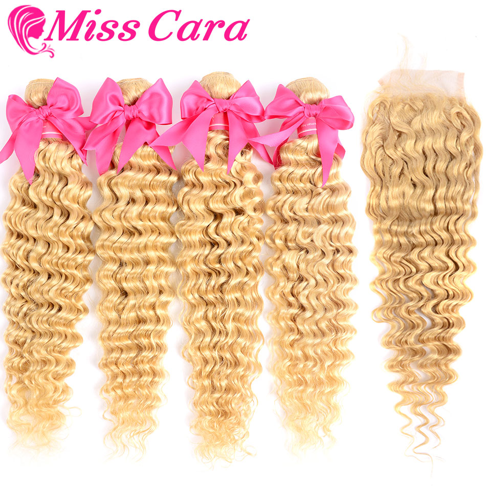 Señorita Cara 613 # Blonde paquetes de onda profunda peruano con cierre 100% cabello humano 3 paquetes con cierre de cabello Remy extensiones de-in Paquetes con cierre 3 / 4 from Extensiones de cabello y pelucas on AliExpress - 11.11_Double 11_Singles' Day 1
