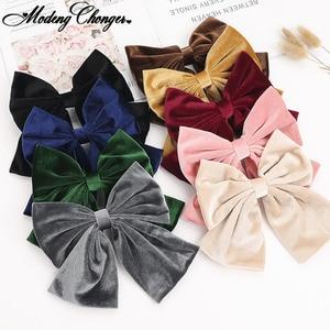 2020 Autumn And Winter Velvet Barrettes 2 Level Big Bow Pearl Hair Clip Korean Ponytail Clip Hairgrip For Women Hair Accessories