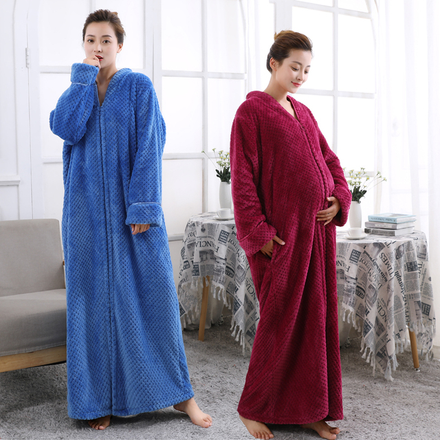 Women Plus Size Thickening Flannel Extra Long Thermal Bathrobe Lovers Zipper V Neck Winter Warm Bath Robe Pregnant Wedding Robes