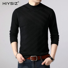 HIYSIZ Brand New Sweater Male 2019 Fashion Style Design Half A Turtleneck Striped Casual Streetwear Autumn Winter Pullover SW038