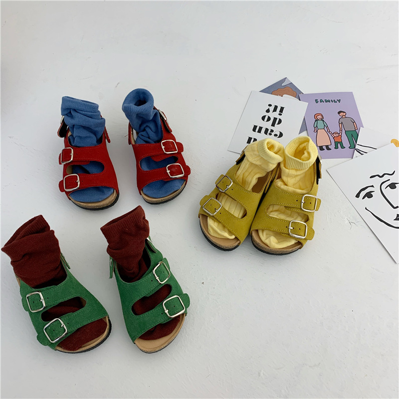 4-Color All-match Cork Sandals For Baby Boys And Girls 2020 Korean Children's Summer Sandals Baby Kids Anti-Leather Slippers