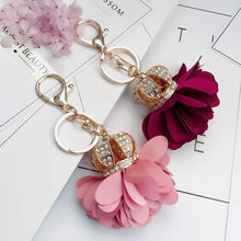 Fashion crown camellia keychain lovely simple flower bag decoration