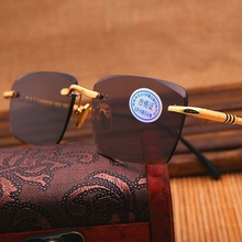 Vazrobe Glass Sunglasses Men Brown Yellow Sun Glasses for Man Crystal Stone Lens Sunglass Rimless Anti Reflection UV400