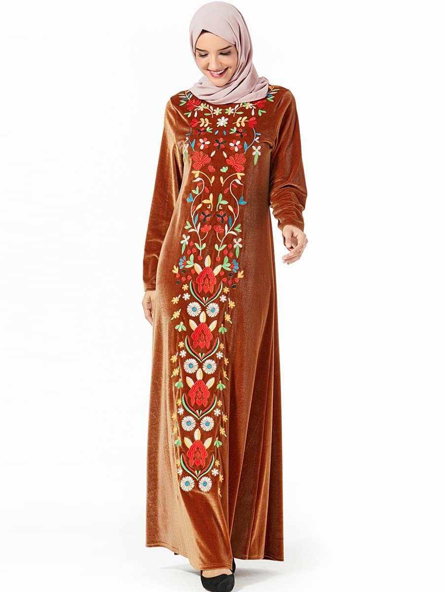 Élégant Velours Robe Musulmane Femmes Broderie Floral Grand Swing Maxi Kimono Jubah Robe A-ligne Abaya Hijab Robes Vêtements Islamiques