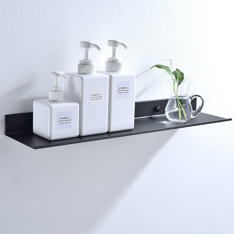 Black Bathroom Rectangular Shelf Rack Before The Mirror Alumimum Matte Bathroom Storage Rack 30/40/50/60 Cm