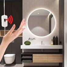 Ручной развертки зеркало с сенсорным выключателем свет гибкий USB LED подсветка для ванной зеркало для спальни и гардеробной плафон подсветки косметического зеркала с клейкой лентой