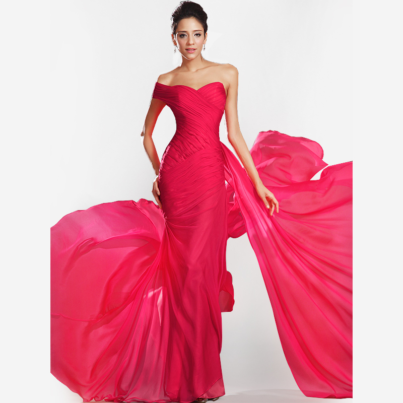 Cheap Price One-shoulder Chiffon Red Elegant Long 2020 Woman Party Robe Demoiselle D'honneur Sweetheart Bridesmaid Dresses