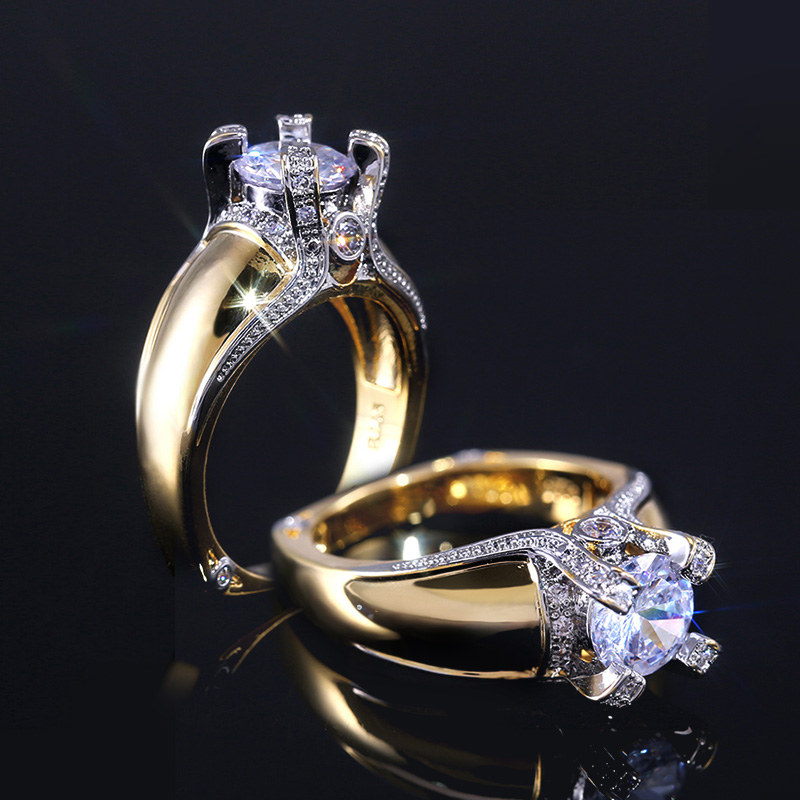 Huitan Creatice Exquisite-Ring Classic Solitaire Cubic Zircon Stone Gold Color Women Wedding Rings Band With Size 6-10 Wholesale