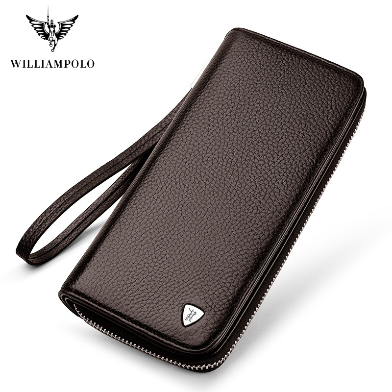 WilliamPolo Men's Full-Grain Leather Long Wallet For Men  Fashion Phone Credit Card Holder Coin Purses Business Clutch Cowhide
