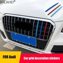 Uds estilo de coche parachoques delantero de aire parrilla decoración etiqueta engomada del corte para Audi 2012-2015 Q3 2013-2018 Q5 Accesorios
