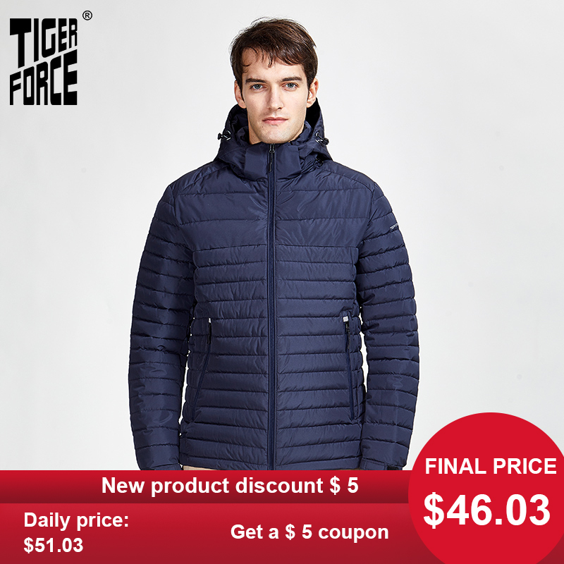 TigerForce2020 New Arrival Jackets Male High Quality Spring Autumn Zipper Parkas  Down Jacket  Men Outerwear Casual Coats 50629