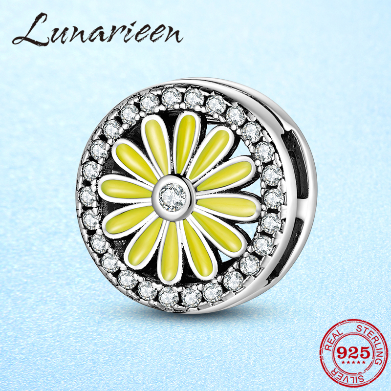 Yellow Daisies Flowers 925 Sterling Silver Clips Beads For Jewelry Making Fit Original Reflection Bracelet Clip Charm