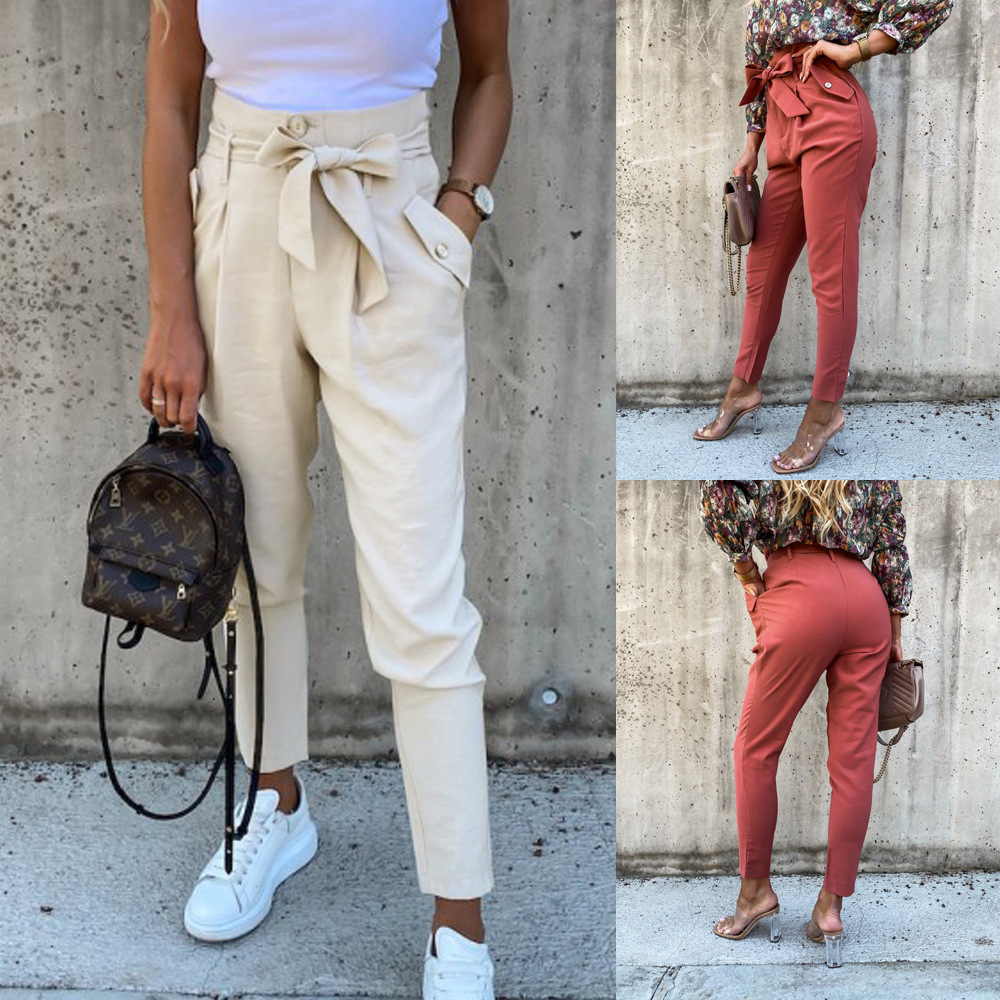 High Waist Pencil Pants Women Elegant Button Pocket Bandage Bow Long Pant Solid Slim Casual Trousers Female Bottoms Pants Summer