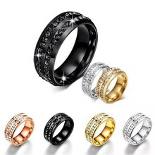 Double row stainless steel ring Glamour men and women couple ring Jewelry top quality wedding ring scrotum pendant top stainless steel penis ring chastity devices restraint pendant scrotum ring cock ring sex toy for men b2 85