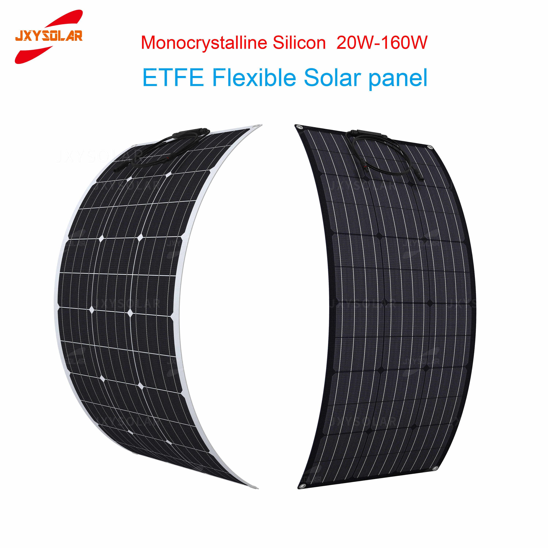 رقيقة جدا فائقة ضوء أحادي السيليكون ETFE 20 واط-160 واط لوح طاقة شمسية شبه مرن Rv يخت مخصص