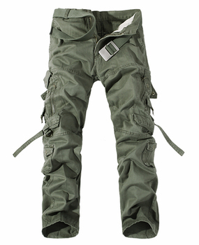 2019 New Men Cargo Pants army green big pockets decoration mens Casual trousers easy wash male autumn army pants plus size 42 - 29, Grass green