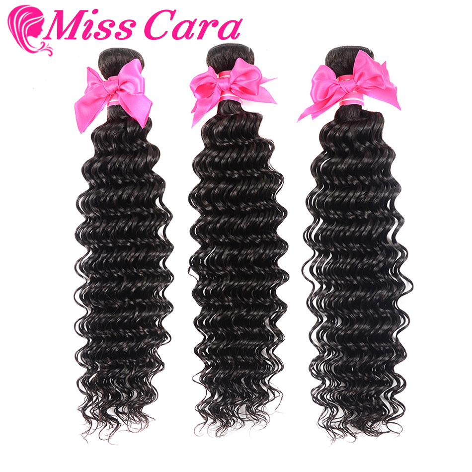 Miss Cara Deep Wave 3 Bundles Deals 100% Remy Human Hair Extensions Malaysian Hair Bundles Can Be Dyed Or Bleached