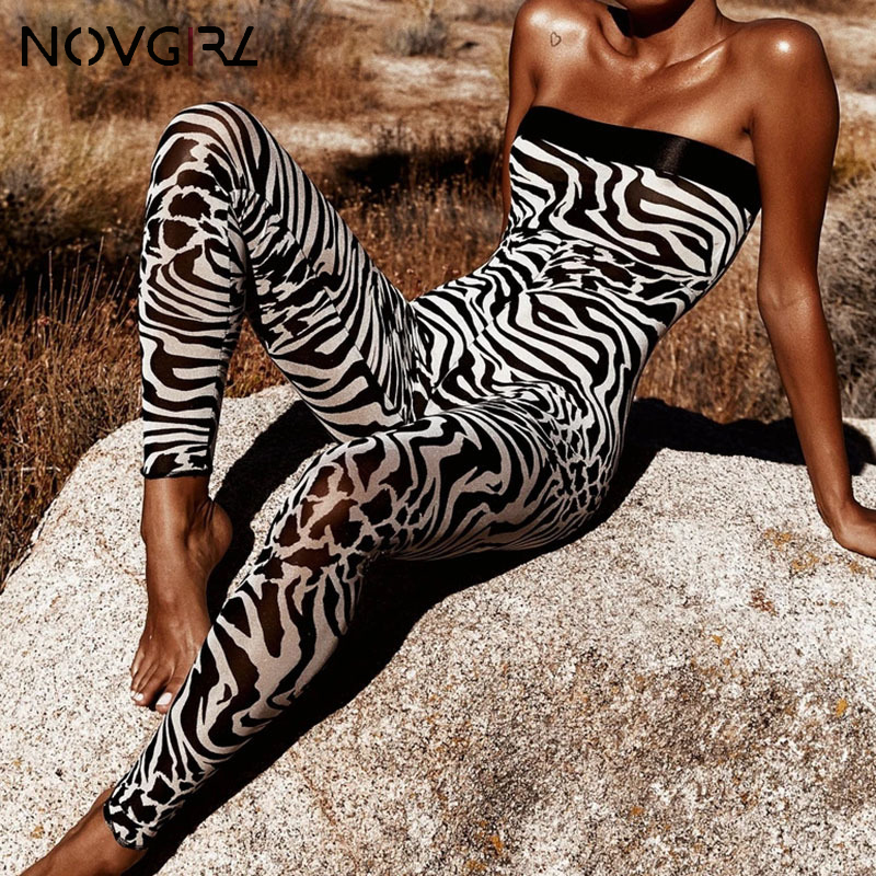 Novgirl Zebra Print Skinny Sexy Jumpsuit Women Wrap Chest Rompers Workout Hot Fashion Fitness Strapless Overalls Female Cloth