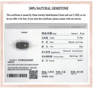 Image 5 - Hutang ガーネットリング天然トパーズ固体 925 スターリングシルバー婚約指輪赤宝石罰金エレガント女性