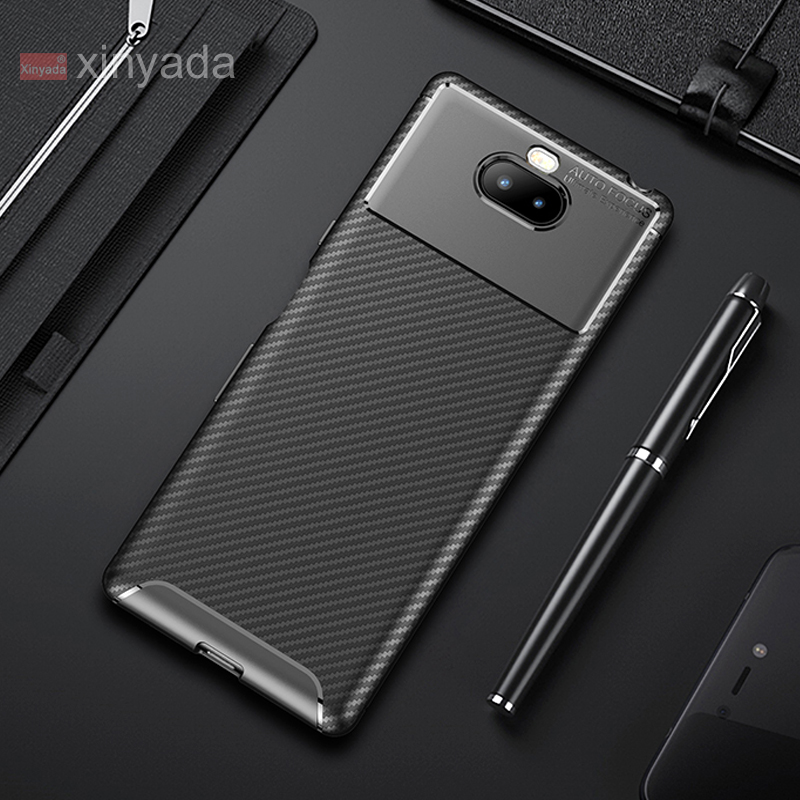 Soft Cover <font><b>Case</b></font> For <font><b>Sony</b></font> Xperia 10 Plus Xperia 1 <font><b>Xperia10</b></font> <font><b>Case</b></font> luxury Skin Silicone Tpu Carbon Fiber Armor Shell Bumper coque image