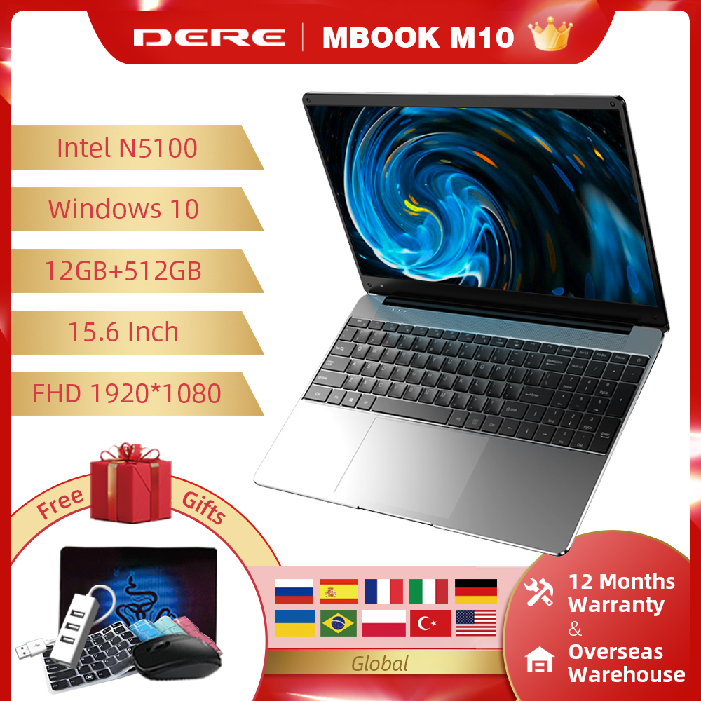 DERE Laptop MBook M10 15.6 Inch Intel Jasper Lake N5100 12G 512G FHD 1920*1080 Notebook Computer Windows 10 Mini PC Students
