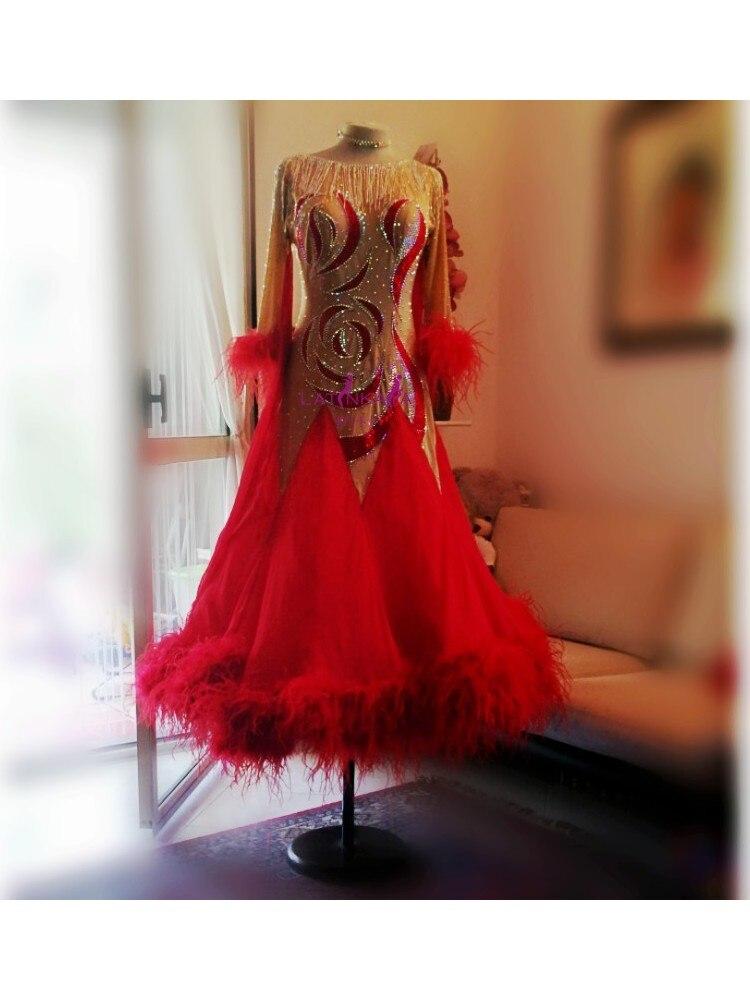 Ballroom Dance Dresses Ladies Women Girl Fine Stones Long Sleeve Stage Dance Wear Waltz Flamenco Ballroom Dress Ostrich Feathers