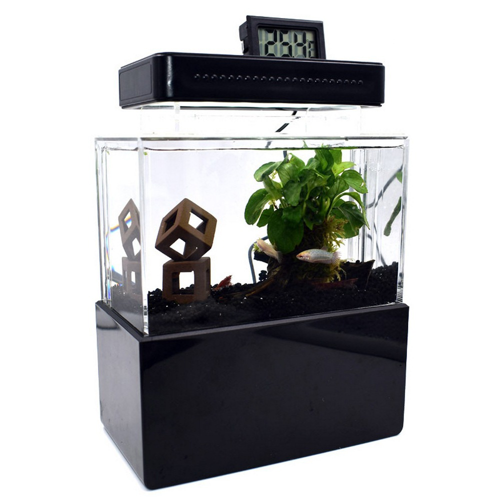USB Aquarium Fish Tank Mini Plastic Fish Tank Portable Desktop Aquaponic Aquarium Fish Bowl With Water Filtration LED Quiet