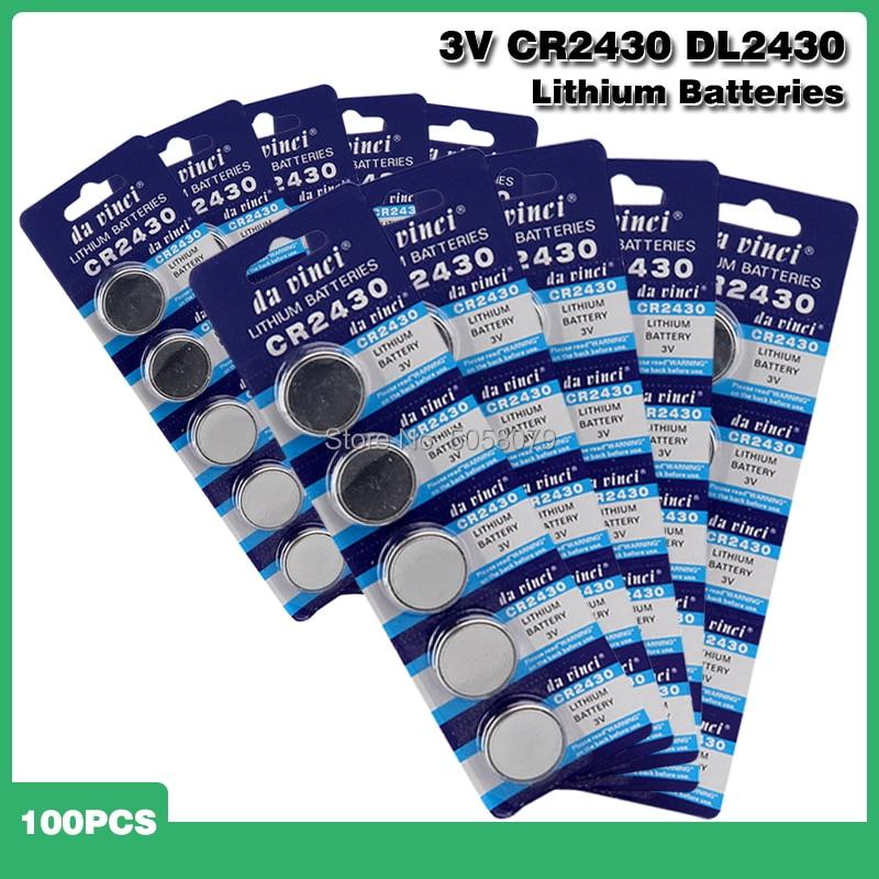 100 шт. кнопочный аккумулятор CR2430 3 в электронные литиевые батареи для монет DL2430 BR2430 ECR2430 KL2430 EE6229 Часы игрушки наушники