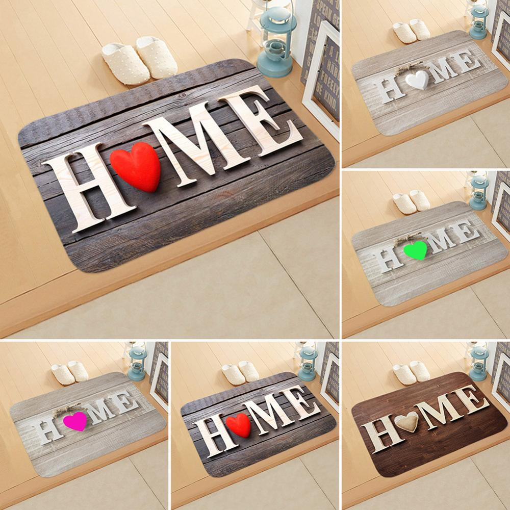 Offlannel Material Letter Print Doormats Rectangle Non-Slip Flannel Door Mat Bedroom Kitchen Entrance Floor Mat Doormats