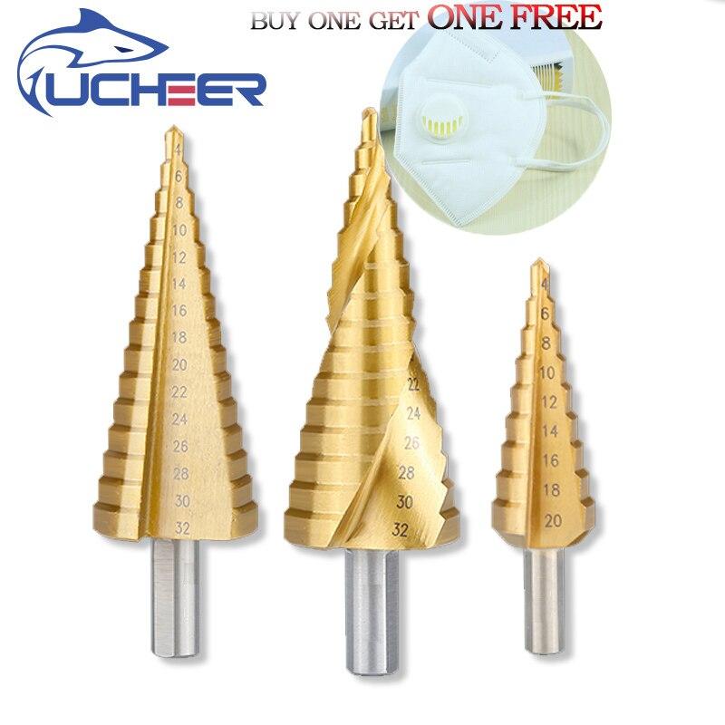 UCHEER ze stali Hss wiertło stopniowe tytanowe trzonek trójkątny 4-12/4-20/4-32 Auger wiertło centrujące