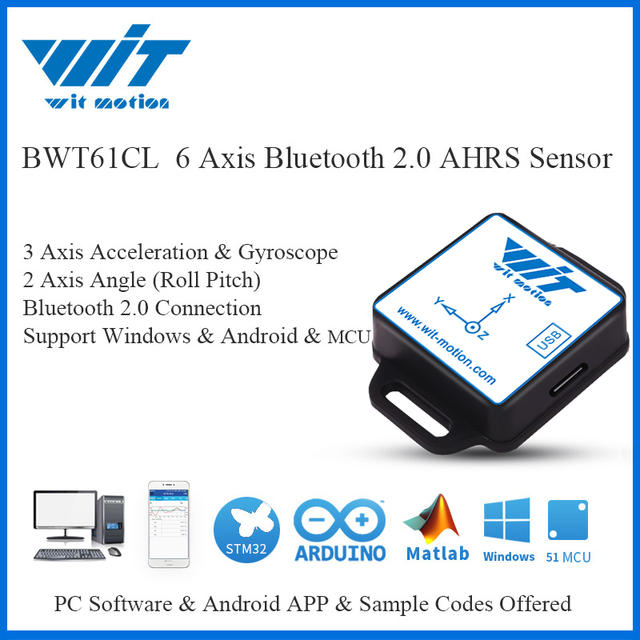 WitMotion Bluetooth 2.0 BWT61CL 6 Axis Sensor Digital Tilt Angle Inclinometer + Acceleration + Gyro MPU6050 on PC/Android/MCU