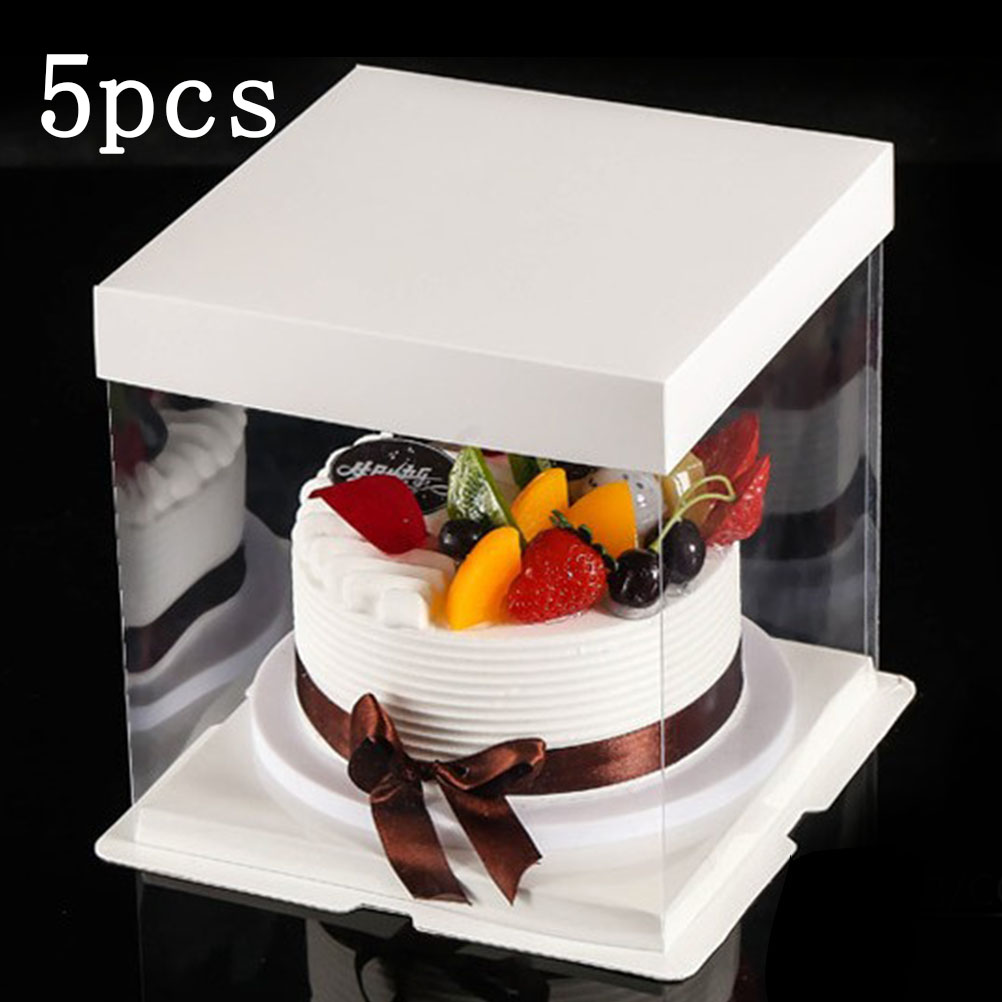 Prime 5Pcs 10 Inch Transparent Wedding Cake Boxes Clear Plastic Birthday Funny Birthday Cards Online Fluifree Goldxyz
