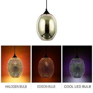 Image 2 - Lámpara colgante con pantalla de cristal colgante de cielo estrellado romántico colorido 3D moderno, accesorio de luces E27 para dormitorio, restaurante y sala de estar
