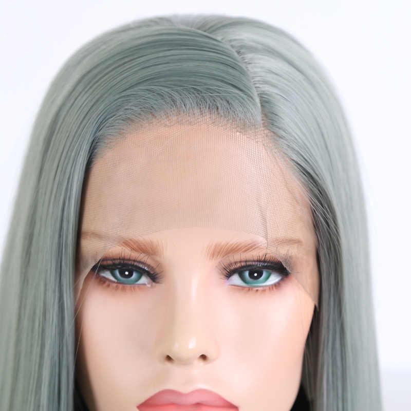 Peluca de pelo liso sin pegamento, peluca con malla frontal, Peluca de fibra resistente al calor para Cosplay de carisma