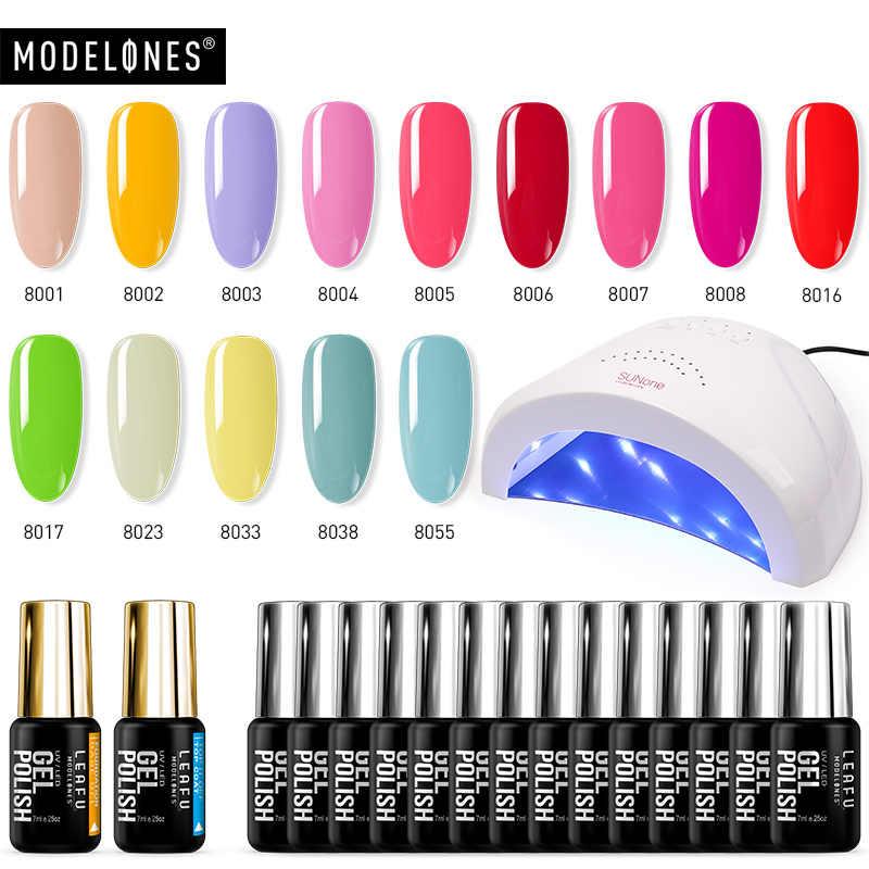 Modelones 17 Pcs/Lot 48W UV ongles lampe ongles Cure manucure outils Kits tremper Gel Semi Permanent longue durée Base Top Gel Kits