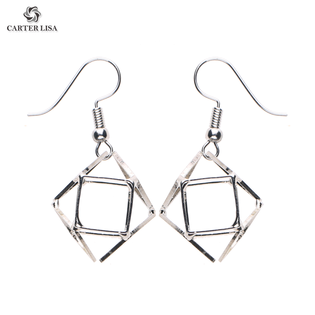 CARTER LISA 2019 New Fashion Unique Lightweight Geometric Hollow Out Plated Cube Earrings For Women Female HDEA-002