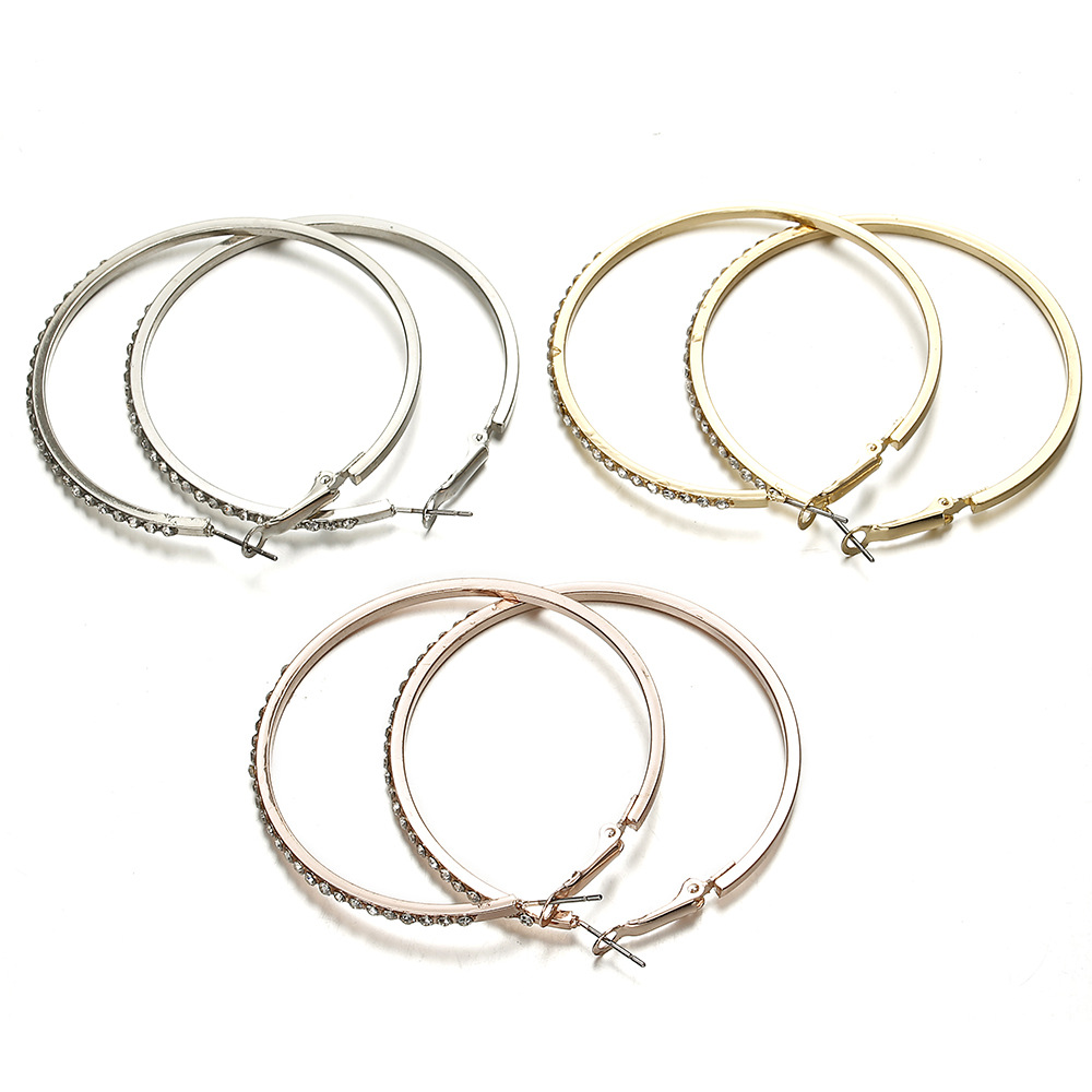 7cm Personality Super Crystal Big Circles Hoop Earrings For Women Fashion Gold Silver Color Jewelry Big Round Circle Earring