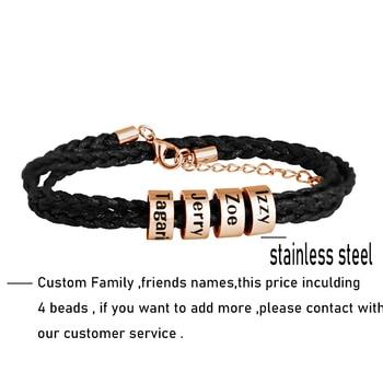 Personalized Family Names Bracelet Multiple Layers Braided Rope Titanium Steel Beads Leather Custom Bracelets & Bangle For Man 1