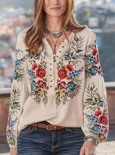 Женская свободная рубашка с длинным рукавом цветочным принтом