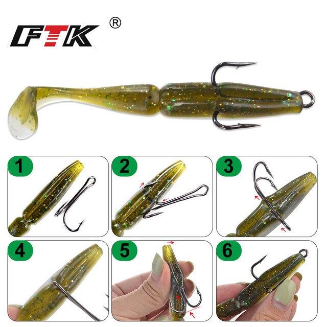 FTK-Double hameçons de pêche, 20 pièces à Double tige, sans mauvaises herbes, hameçons de pêche à la mouche pour le bar, leurre souple