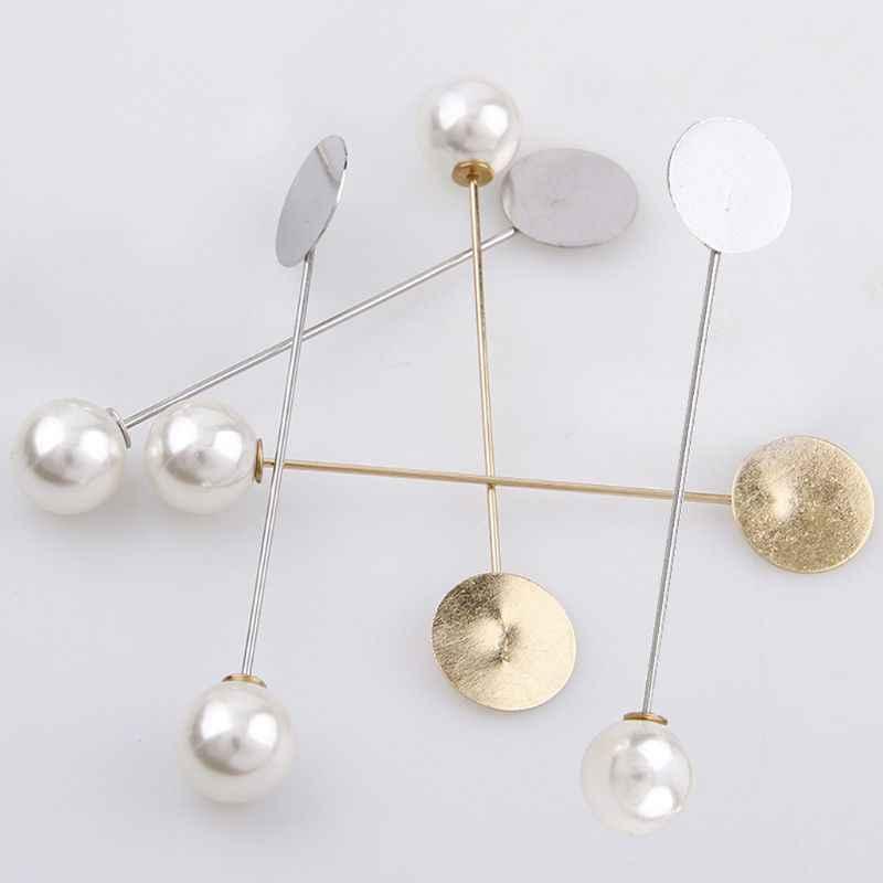 10 Buah Tray Lapel Stick Bros Mutiara Pin Perapi Topi Syal Lencana Kostum DIY Temuan Perhiasan