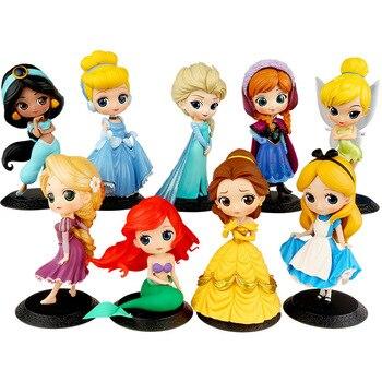 10 stylów księżniczka Q Posket Elsa Anna roszpunka Belle śnieżka figurki Pvc Anime kolekcja lalek dla dziewczynki